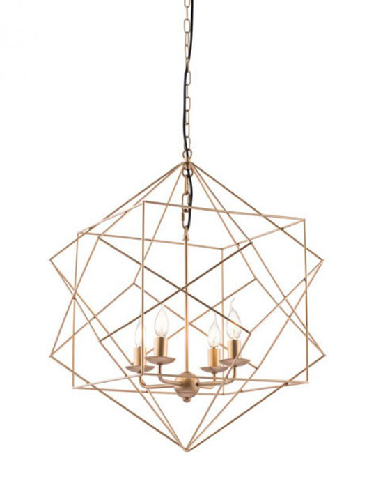 Geo Gold Wire Pendant Light