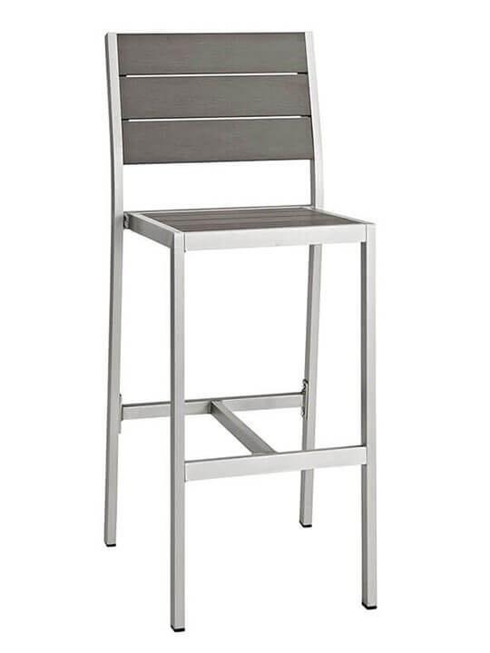 Modern Outdoor Aluminum Wood Barstool