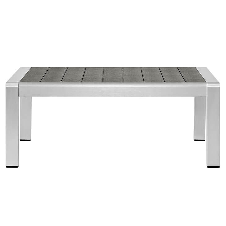 Modern Outdoor Aluminum Wood Coffee Table 2