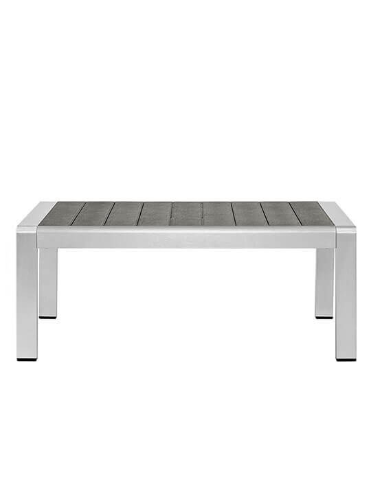 Modern Outdoor Aluminum Wood Coffee Table
