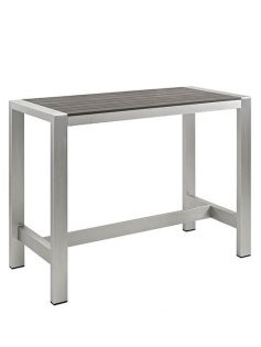 Modern Outdoor Aluminum Wood Large Bar Table 237x315