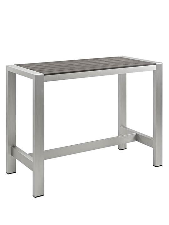 Genial Modern Outdoor Aluminum Wood Large Bar Table