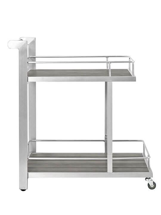 Modern Outdoor Aluminum Wood Rolling Cart 1
