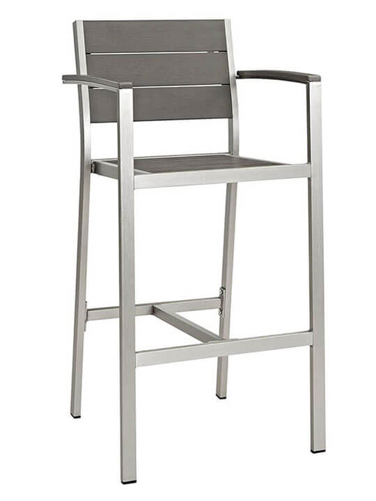 Modern Outdoor Aluminum Wood arm Barstool