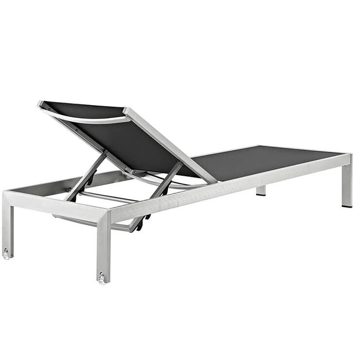 black mesh outdoor aluminum chaise lounge