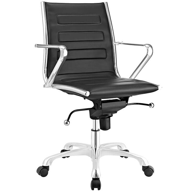 form black leather office chair