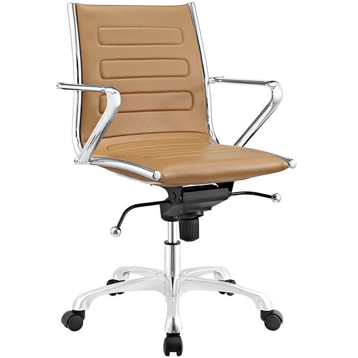 form tan leather office chair