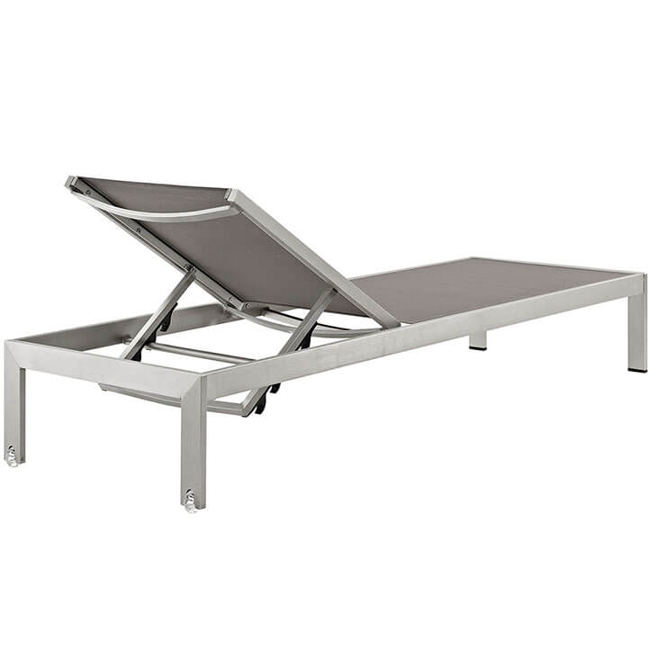 grey modern outdoor aluminum chaise lounge chair