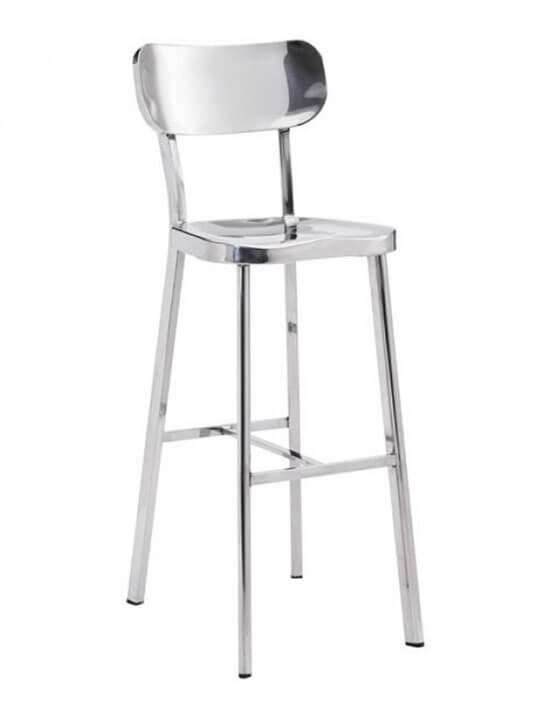 metallic chrome barstool