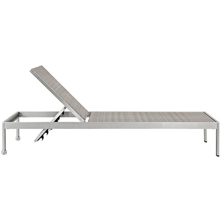 modern outdoor aluminum chaise lounge gray rattan chair