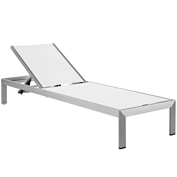 modern outdoor aluminum chaise lounge white silver