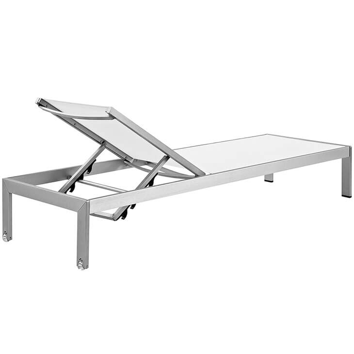 silver white modern outdoor aluminum chaise lounge
