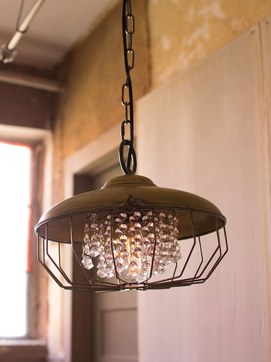 Glass Gem Industrial Dome Chandelier