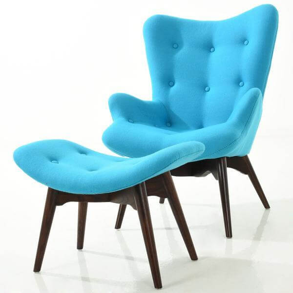 Retreat lounge chair ottoman set blue