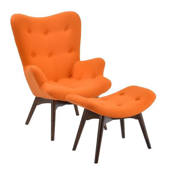 Retreat lounge chair ottoman set orange