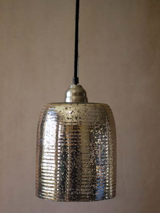 Silver Glass Cylinder Pendant Light
