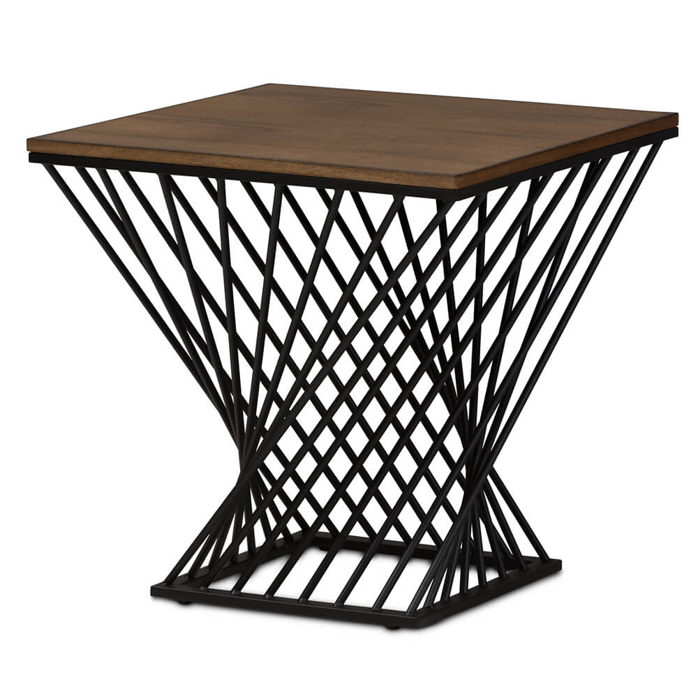 Twist Black Wire Wood Side Table 1
