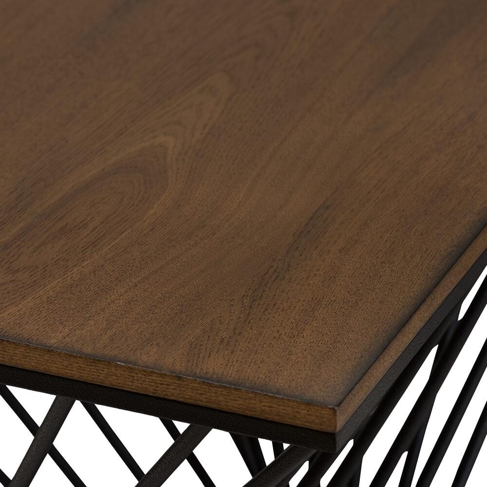 Twist Black Wire Wood Side Table 2