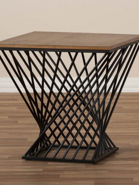 Twist Black Wire Wood Side Table 3 461x614