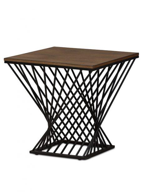 Twist Black Wire Wood Side Table 461x614