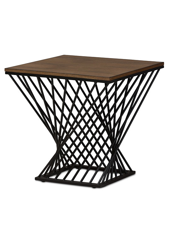 Twist Black Wire Wood Side Table