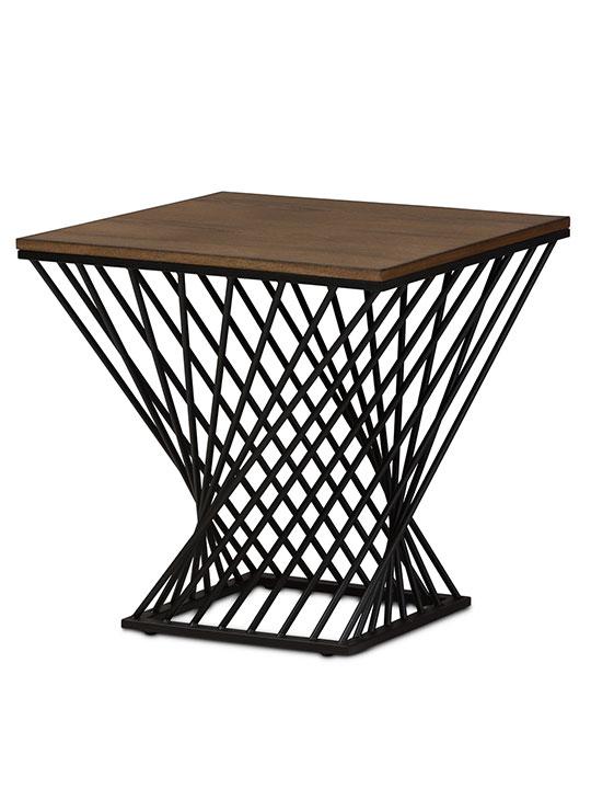 Twist Black Wire Wood Side Table