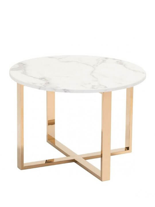 White marble gold end table