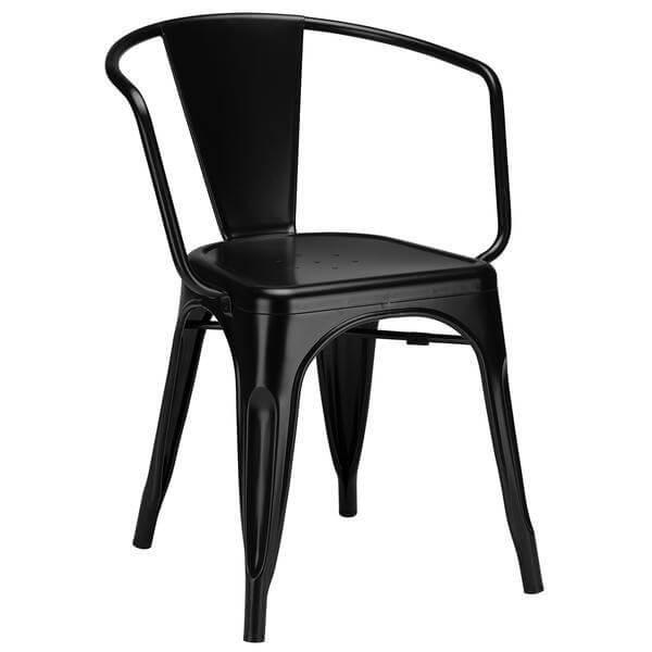 black metal cafe chair
