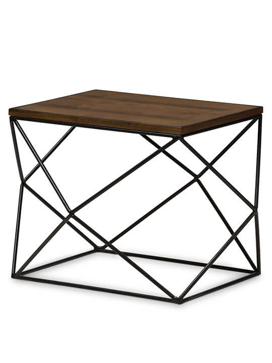 black wire wood geo side table 1