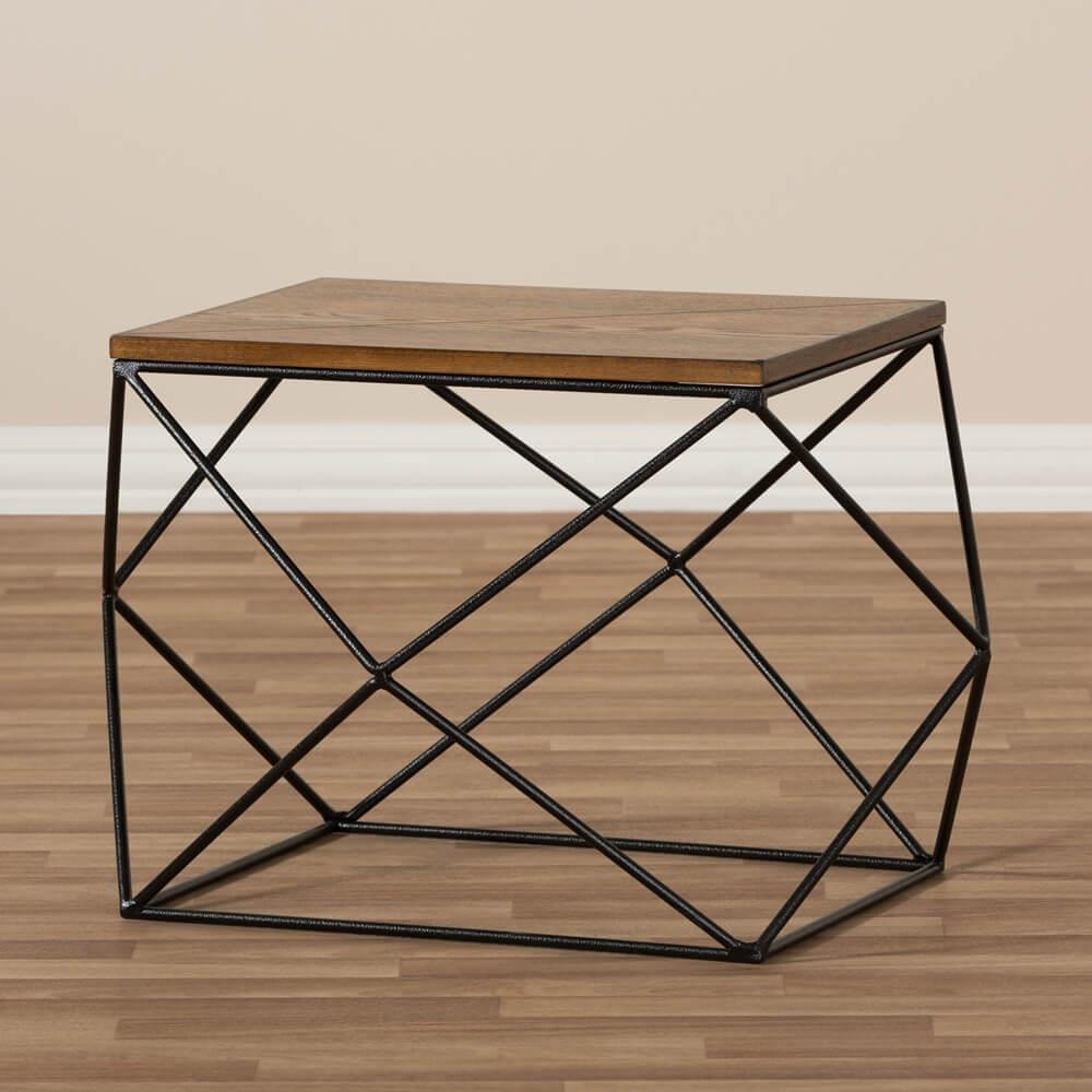black wire wood geo side table 4