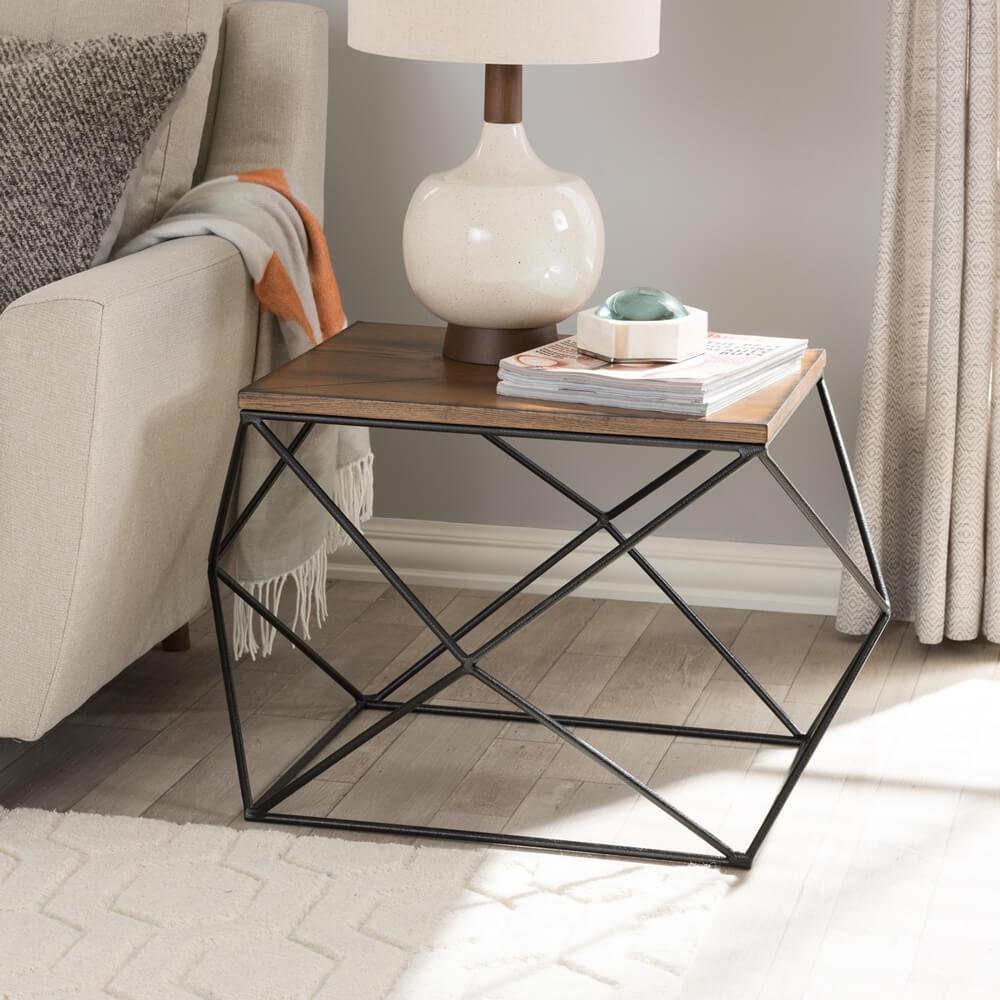 black wire wood geo side table 5
