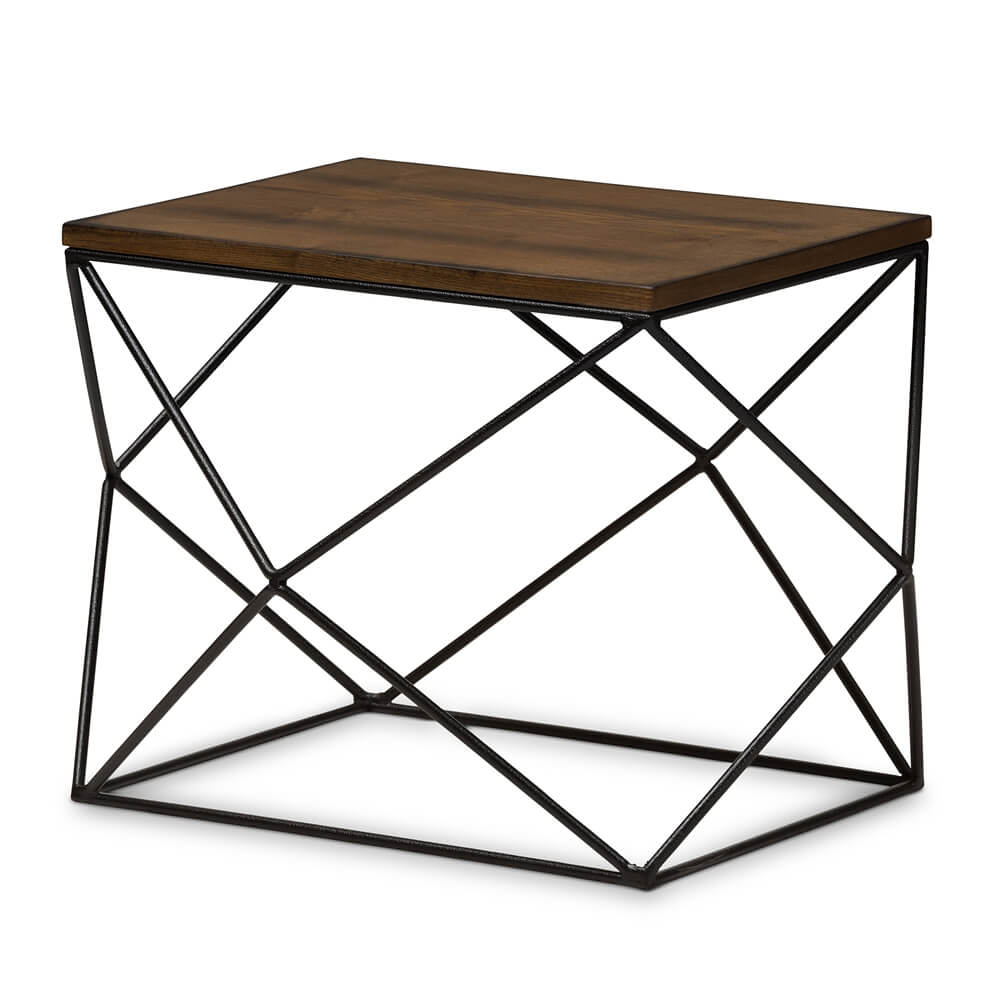 Black Wire Wood Geo Side Table