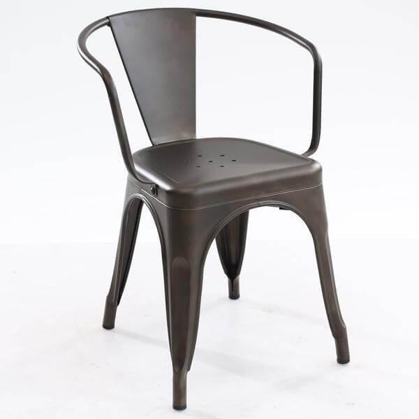 cafe metal armchair gunmetal