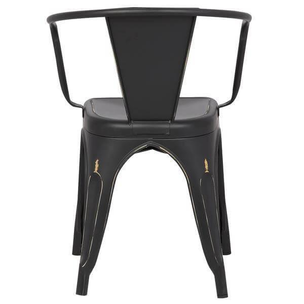 distressed black metal cafe chair 4