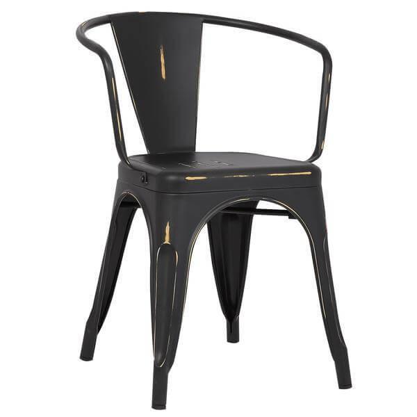 Distressed Black Metal Cafe Chair