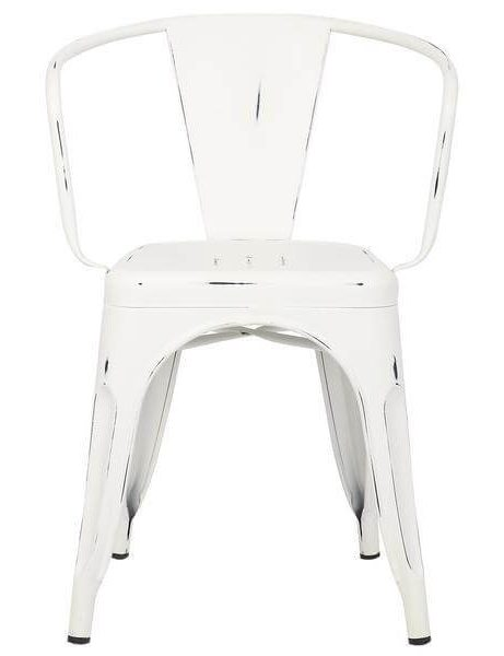 distressed white metal cafe chair 2 461x600