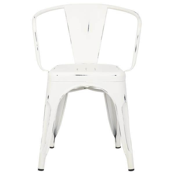 distressed white metal cafe chair 2