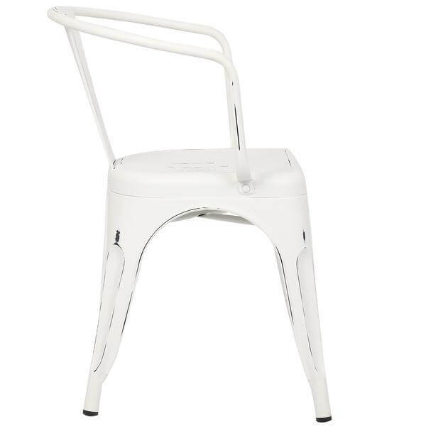 distressed white metal cafe chair 3