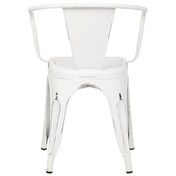 distressed white metal cafe chair 4