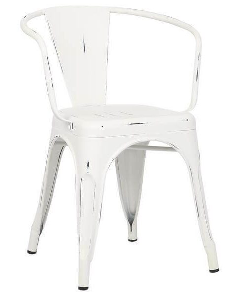 distressed white metal cafe chair 461x600