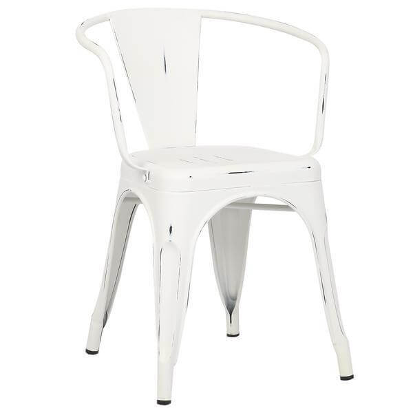 distressed white metal cafe chair