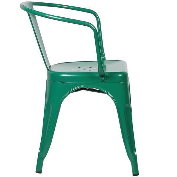 green metal cafe chair 3