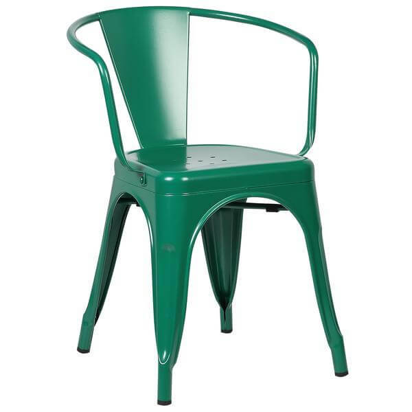 green metal cafe chair