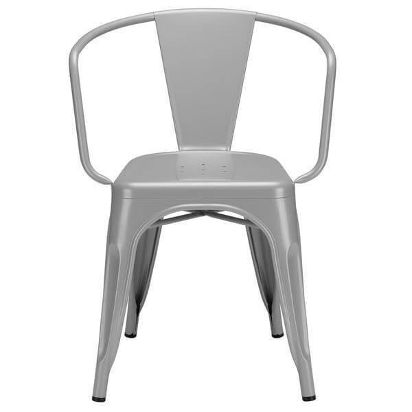 grey metal cafe chair 2