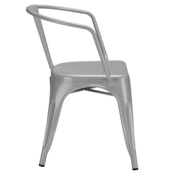 Grey Metal Cafe Chair 3