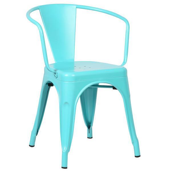 light blue metal cafe chair