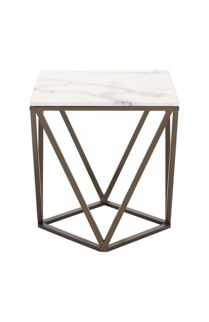 Marble Brass End Table Modern Furniture Brickell Collection - Marble and brass end table