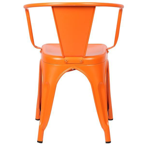 Orange Metal Cafe Chair 4