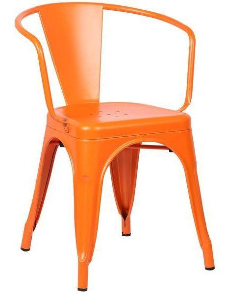 orange metal cafe chair 461x600