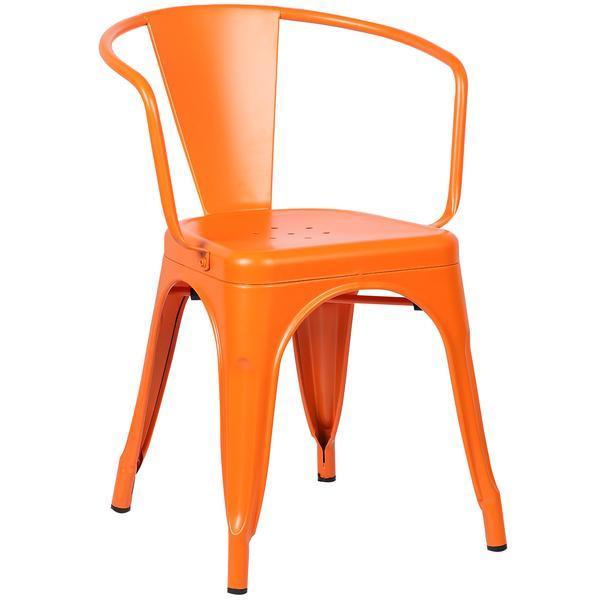orange metal cafe chair